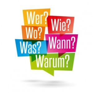 W-Fragen: wer, wie, was, wo, wann, warum